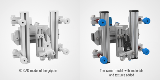 Fig 9. Comparison of 3D visualisation of the gripper without and with materials and textures